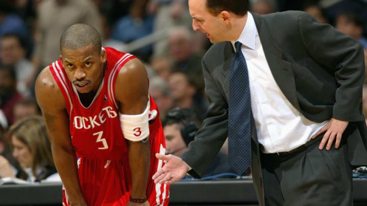 WASHINGTON - JANUARY 13: Head coach Jeff Van Gundy of the Houston Rockets talks to his teammate Steve Francis
