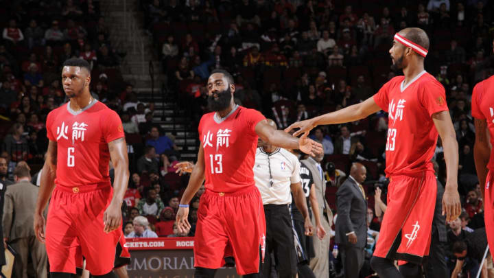 Terrence Jones #6 James Harden #31 and Corey Brewer #33 of the Houston Rockets (Photo by Bill Baptist/NBAE via Getty Images)