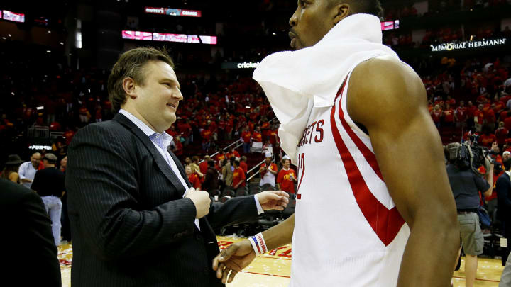 Houston Rockets celebrates General Manager Daryl Morey (Photo by Scott Halleran/Getty Images)