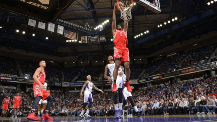 Terrance Jones #6 of the Houston Rockets dunks the ball against the Sacramento Kings (Photo by Rocky Widner/NBAE via Getty Images)