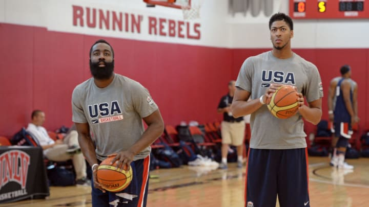 LAS VEGAS, NV - AUGUST 11: James Harden and Anthony Davis of the USA National Team participate in a minicamp at UNLV on August 11, 2015 in Las Vegas, Nevada. NOTE TO USER: User expressly acknowledges and agrees that, by downloading and/or using this Photograph, user is consenting to the terms and conditions of the Getty Images License Agreement. Mandatory Copyright Notice: Copyright 2015 NBAE (Photo by Andrew D. Bernstein/NBAE via Getty Images)