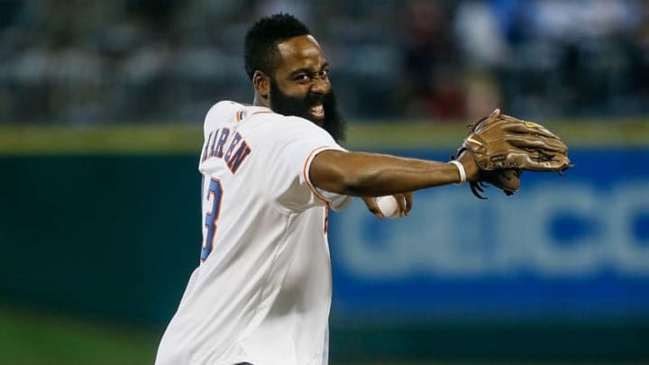 HOUSTON, TX - SEPTEMBER 23: James Harden of the Houston Rockets throws out the first pitch before the Houston Astros play the Los Angeles Angels of Anaheim at Minute Maid Park on September 23, 2015 in Houston, Texas. (Photo by Bob Levey/Getty Images)