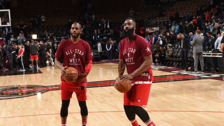 TORONTO, CANADA - FEBRUARY 14: Chris Paul #3 of the Western Conference and James Harden #13 of the Western Conference warms up before the game the 2016 NBA All-Star Game on February 14, 2016 at the Air Canada Centre in Toronto, Ontario, Canada. NOTE TO USER: User expressly acknowledges and agrees that, by downloading and or using this Photograph, user is consenting to the terms and conditions of the Getty Images License Agreement. Mandatory Copyright Notice: Copyright 2016 NBAE (Photo by Ron Turenne/NBAE via Getty Images)