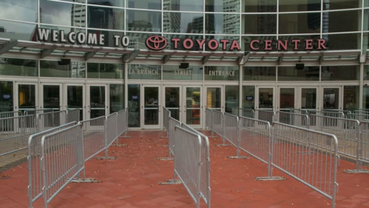 The entrance to the Toyota Center Arena, home to the Houston Rockets (Photo by George Rose/Getty Images)