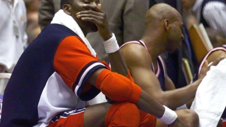 Houston Rockets Hakeem Olajuwon (Photo credit should read Vince Bucci/AFP via Getty Images)