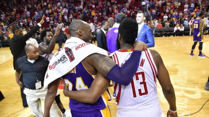 HOUSTON, TX - APRIL 10: Kobe Bryant #24 of the Los Angeles Lakers shakes hands with James Harden #13 of the Houston Rockets after the game on April 10, 2016 at the Toyota Center in Houston, Texas. NOTE TO USER: User expressly acknowledges and agrees that, by downloading and or using this photograph, User is consenting to the terms and conditions of the Getty Images License Agreement. Mandatory Copyright Notice: Copyright 2016 NBAE (Photo by Bill Baptist/NBAE via Getty Images)