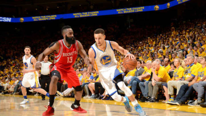 OAKLAND, CA – APRIL 16: Stephen Curry #30 of the Golden State Warriors handles the ball during the game against James Harden #13 of the Houston Rockets in Game One of the Western Conference Quarterfinals during the 2016 NBA Playoffs April 16, 2016 at ORACLE Arena in Oakland, California. NOTE TO USER: User expressly acknowledges and agrees that, by downloading and or using this photograph, user is consenting to the terms and conditions of Getty Images License Agreement. Mandatory Copyright Notice: Copyright 2016 NBAE (Photo by Noah Graham/NBAE via Getty Images)