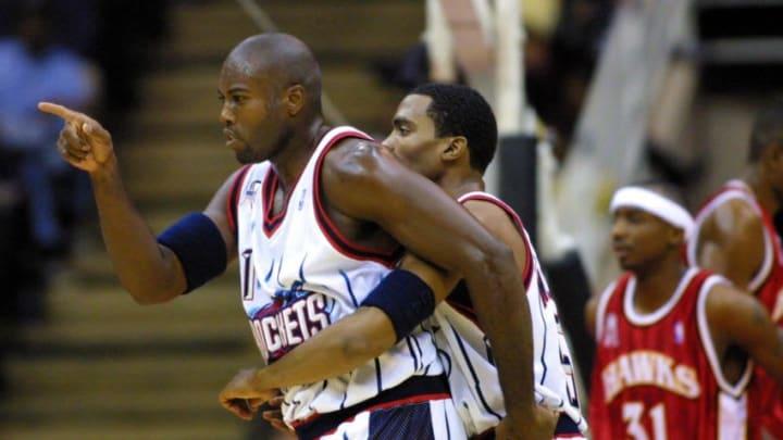 Houston Rockets Glen Rice #41 Mandatory copyright notice: Copyright 2001 NBAE Mandatory Credit: Ronald Martinez/GettyImages/NBAE