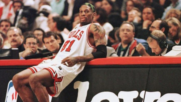 Chicago Bulls Dennis Rodman AFP PHOTO/Jeff HAYNES (Photo credit should read JEFF HAYNES/AFP via Getty Images)