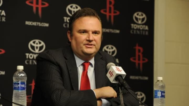 HOUSTON, TX – June 1: Houston Rockets GM Daryl Morey is interviewed as the Rockets announce D'Antoni as their new head coach on June 1, 2016 at Toyota Center in Houston, Texas. NOTE TO USER: User expressly acknowledges and agrees that, by downloading and or using this photograph, User is consenting to the terms and conditions of the Getty Images License Agreement. Mandatory Copyright Notice: Copyright 2016 NBAE (Photo by Bill Baptist/NBAE via Getty Images)