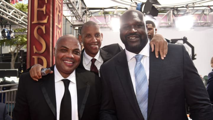 Former NBA players Charles Barkley, Reggie Miller and Shaquille O'Neal (Photo by Kevin Mazur/Getty Images)