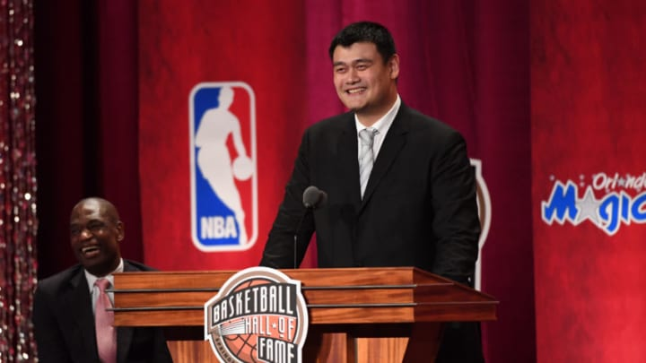 SPRINGFIELD, MA - SEPTEMBER 9: Inductee, Yao Ming speaks to the audience at the 2016 Basketball Hall of Fame Enshrinement Ceremony on September 9, 2016 at Symphony Hall in Springfield, Massachusetts. NOTE TO USER: User expressly acknowledges and agrees that, by downloading and/or using this photograph, user is consenting to the terms and conditions of the Getty Images License Agreement. Mandatory Copyright Notice: Copyright 2016 NBAE (Photo by Jesse D. Garrabrant/NBAE via Getty Images)