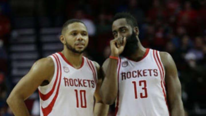 HOUSTON, TX – DECEMBER 10: James Harden #13 of the Houston Rockets talks with Eric Gordon #10 at Toyota Center on December 10, 2016 in Houston, Texas.