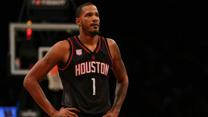 NEW YORK, NY - JANUARY 15: Trevor Ariza #1 of the Houston Rockets in action against the Brooklyn Nets at Barclays Center on January 15, 2017 in Brooklyn borough of New York City. Houston Rockets defeated the Brooklyn Nets 137-112. (Photo by Mike Stobe/Getty Images)