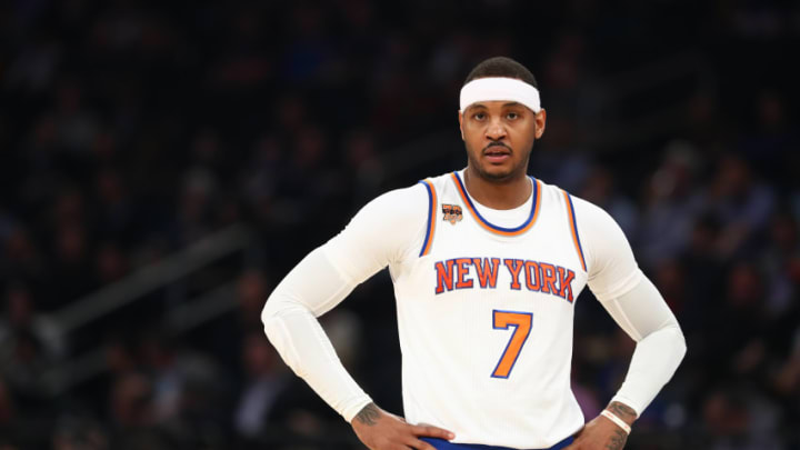 NEW YORK, NY - FEBRUARY 27: Carmelo Anthony #7 of the New York Knicks looks on against the Toronto Raptors during their game at Madison Square Garden on February 27, 2017 in New York City. NOTE TO USER: User expressly acknowledges and agrees that, by downloading and/or using this Photograph, user is consenting to the terms and conditions of the Getty Images License Agreement. (Photo by Al Bello/Getty Images)