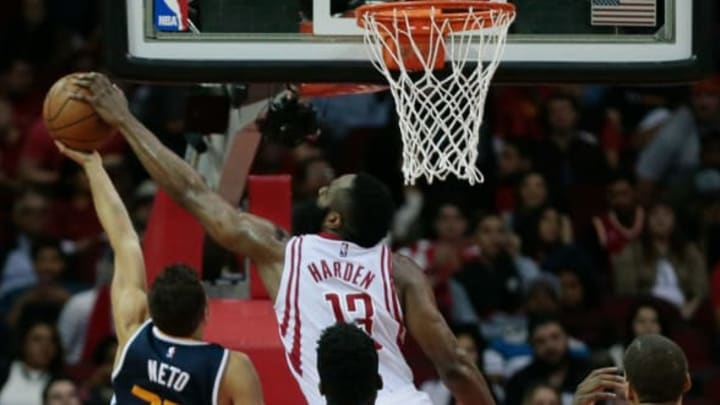 HOUSTON, TX – MARCH 08: Raul Neto #25 of the Utah Jazz has his shot blocked by James Harden #13 of the Houston Rockets at Toyota Center on March 8, 2017 in Houston, Texas. (Photo by Bob Levey/Getty Images)