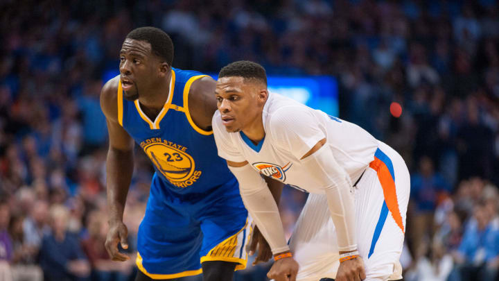 OKLAHOMA CITY, OK – MARCH 20: Golden State Warriors Forward Draymond Green (23) and Oklahoma City Thunder Guard Russell Westbrook (0) in game on March 20, 2017, at the Chesapeake Energy Arena Oklahoma City, OK. (Photo by Torrey Purvey/Icon Sportswire via Getty Images)