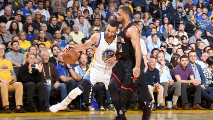 OAKLAND, CA - MARCH 31: Stephen Curry #30 of the Golden State Warriors handles the ball against the Houston Rockets on March 31, 2017 at ORACLE Arena in Oakland, California.