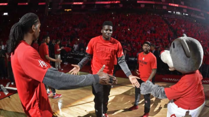 Clint Capela coming out of warm ups