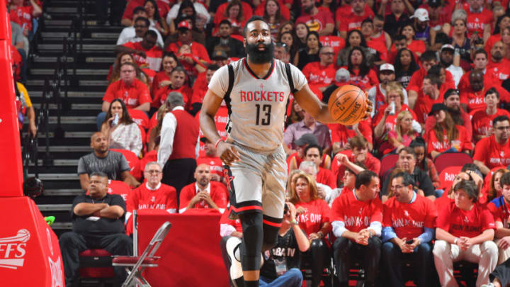HOUSTON, TX - MAY 11: James Harden #13 of the Houston Rockets brings the ball up court during the game against the San Antonio Spurs during Game Six of the Western Conference Semifinals of the 2017 NBA Playoffs on May 11, 2017 at the Toyota Center in Houston, Texas. NOTE TO USER: User expressly acknowledges and agrees that, by downloading and or using this photograph, User is consenting to the terms and conditions of the Getty Images License Agreement. Mandatory Copyright Notice: Copyright 2017 NBAE (Photo by Jesse D. Garrabrant/NBAE via Getty Images)
