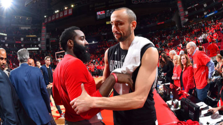 HOUSTON, TX - MAY 11: Manu Ginobili #20 of the San Antonio Spurs shakes hands with James Harden #13 of the Houston Rockets after the game during Game Six of the Western Conference Semifinals of the 2017 NBA Playoffs on May 11, 2017 at the Toyota Center in Houston, Texas. NOTE TO USER: User expressly acknowledges and agrees that, by downloading and or using this photograph, User is consenting to the terms and conditions of the Getty Images License Agreement. Mandatory Copyright Notice: Copyright 2017 NBAE (Photo by Jesse D. Garrabrant/NBAE via Getty Images)