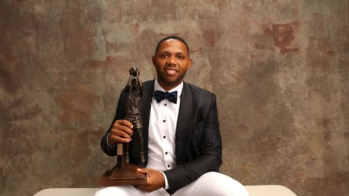 NEW YORK, NY – JUNE 26: Eric Gordon of the Houston Rockets poses for a portrait after receiving the Kia NBA Sixth Man Award at the NBA Awards Show on June 26, 2017 at Basketball City at Pier 36 in New York City, New York. NOTE TO USER: User expressly acknowledges and agrees that, by downloading and or using this photograph, user is consenting to the terms and conditions of Getty Images License Agreement. Mandatory Copyright Notice: Copyright 2017 NBAE (Photo by Michael J. LeBrecht II/NBAE via Getty Images)