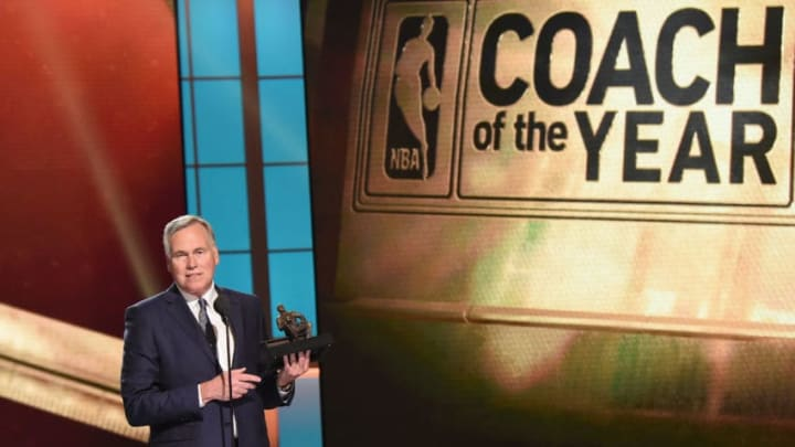 NEW YORK, NY - JUNE 26: 2016-17 NBA Coach of the Year, Mike D'Antoni of the Houston Rockets speaks on stage during the 2017 NBA Awards Live On TNT on June 26, 2017 in New York City. 27111_001 (Photo by Michael Loccisano/Getty Images for TNT )