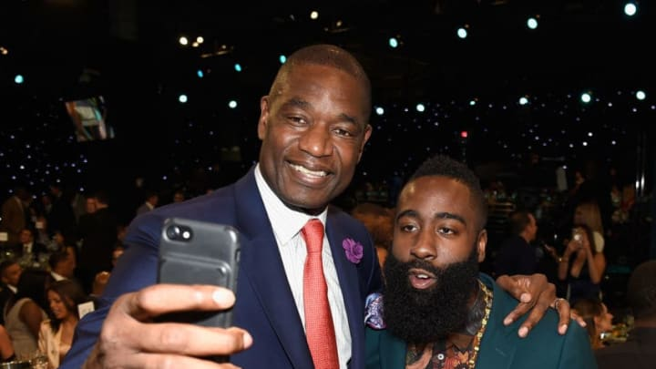 NEW YORK, NY - JUNE 26: NBA players Dikembe Mutombo and James Harden pose for a photo during the 2017 NBA Awards Live on TNT on June 26, 2017 in New York, New York. 27111_002 (Photo by Kevin Mazur/Getty Images for TNT)