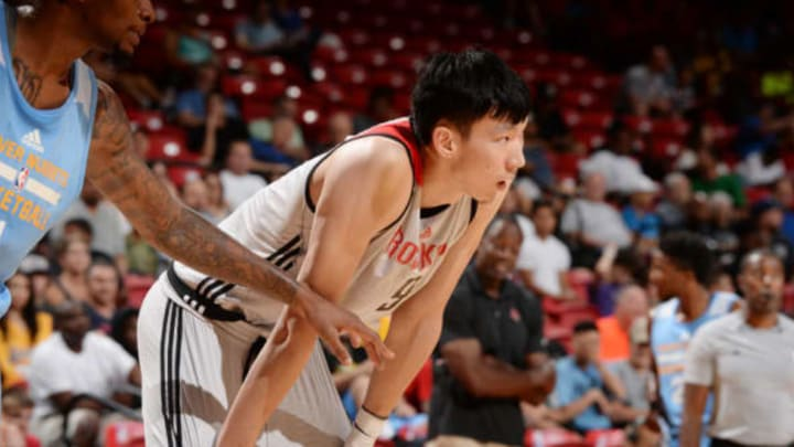 LAS VEGAS, NV – JULY 12: Zhou Qi #9 of the Houston Rockets plays defense against the Denver Nuggets during the 2017 Summer League on July 12, 2017 at the Thomas & Mack Center in Las Vegas, Nevada. NOTE TO USER: User expressly acknowledges and agrees that, by downloading and or using this Photograph, user is consenting to the terms and conditions of the Getty Images License Agreement. Mandatory Copyright Notice: Copyright 2017 NBAE (Photo by Bart Young/NBAE via Getty Images)