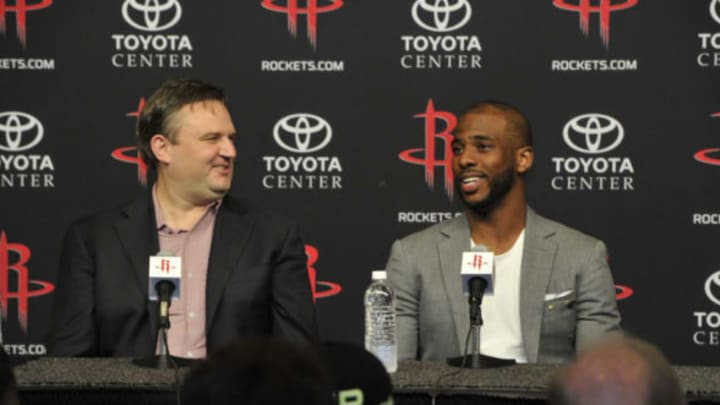 HOUSTON, TX – JULY 14: General Manager Daryl Morey of the Houston Rockets introduces Chris Paul as he speaks to the media during a press conference on July 14, 2017 at the Toyota Center in Houston, Texas. NOTE TO USER: User expressly acknowledges and agrees that, by downloading and/or using this photograph, user is consenting to the terms and conditions of the Getty Images License Agreement. Mandatory Copyright Notice: Copyright 2017 NBAE (Photo by Bill Baptist/NBAE via Getty Images)