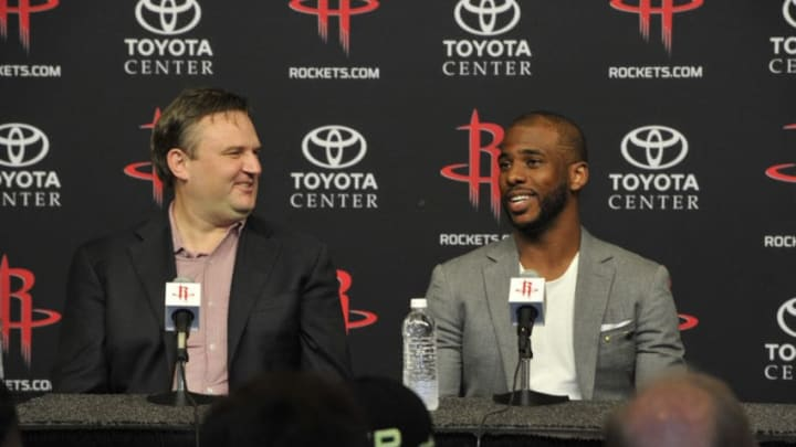 General Manager Daryl Morey of the Houston Rockets introduces Chris Paul as he speaks to the media during a press conference on July 14, 2017 at the Toyota Center in Houston, Texas. NOTE TO USER: User expressly acknowledges and agrees that, by downloading and/or using this photograph, user is consenting to the terms and conditions of the Getty Images License Agreement. Mandatory Copyright Notice: Copyright 2017 NBAE (Photo by Bill Baptist/NBAE via Getty Images)