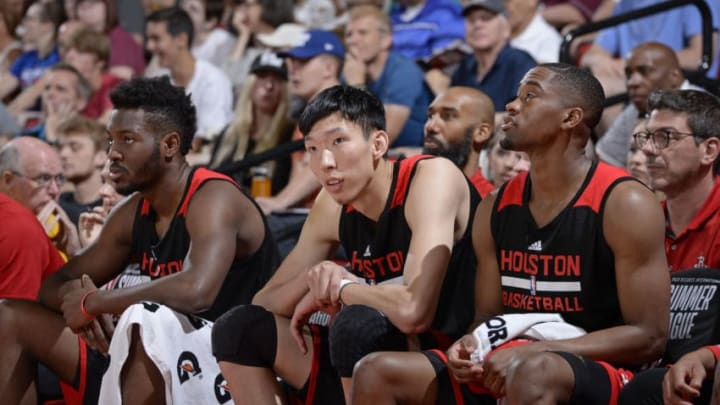 LAS VEGAS, NV - JULY 14: Zhou Qi #9 of the Houston Rockets sits on the bench during the 2017 Summer League game against the Atlanta Hawks on July 14, 2017 at the Cox Pavilion in Las Vegas, Nevada. NOTE TO USER: User expressly acknowledges and agrees that, by downloading and or using this Photograph, user is consenting to the terms and conditions of the Getty Images License Agreement. Mandatory Copyright Notice: Copyright 2017 NBAE (Photo by David Dow/NBAE via Getty Images)
