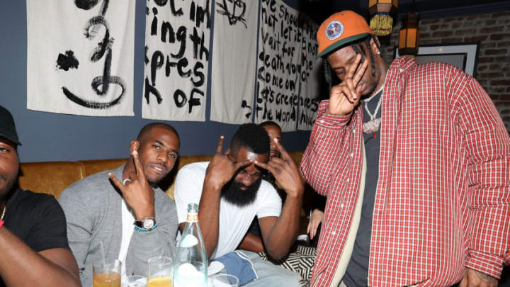 NEW YORK, NY - OCTOBER 09: Chris Paul, James Harden and Travis Scott Chris Paul Dusse Dinner at Jue Lan Club on October 9, 2017 in New York City. (Photo by Shareif Ziyadat/Getty Images)