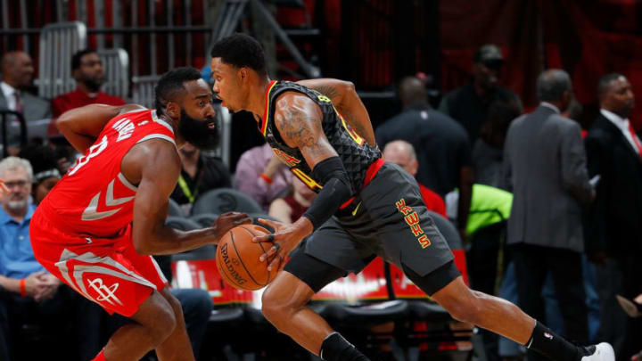 ATLANTA, GA - NOVEMBER 03: Kent Bazemore #24 of the Atlanta Hawks drives against James Harden #13 of the Houston Rockets at Philips Arena on November 3, 2017 in Atlanta, Georgia. NOTE TO USER: User expressly acknowledges and agrees that, by downloading and or using this photograph, User is consenting to the terms and conditions of the Getty Images License Agreement. (Photo by Kevin C. Cox/Getty Images)