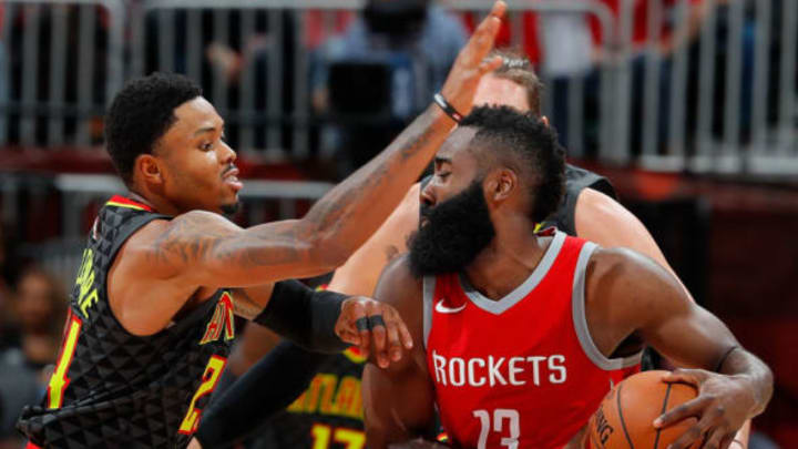 ATLANTA, GA – NOVEMBER 03: Kent Bazemore #24 of the Atlanta Hawks defends against James Harden #13 of the Houston Rockets at Philips Arena on November 3, 2017 in Atlanta, Georgia. NOTE TO USER: User expressly acknowledges and agrees that, by downloading and or using this photograph, User is consenting to the terms and conditions of the Getty Images License Agreement. (Photo by Kevin C. Cox/Getty Images)