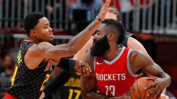 ATLANTA, GA - NOVEMBER 03: Kent Bazemore #24 of the Atlanta Hawks defends against James Harden #13 of the Houston Rockets at Philips Arena on November 3, 2017 in Atlanta, Georgia. NOTE TO USER: User expressly acknowledges and agrees that, by downloading and or using this photograph, User is consenting to the terms and conditions of the Getty Images License Agreement. (Photo by Kevin C. Cox/Getty Images)