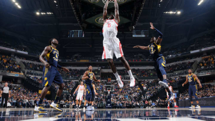 INDIANAPOLIS, IN - NOVEMBER 12: Clint Capela #15 of the Houston Rockets goes to the basket against the Indiana Pacers on November 12, 2017 at Bankers Life Fieldhouse in Indianapolis, Indiana. NOTE TO USER: User expressly acknowledges and agrees that, by downloading and or using this Photograph, user is consenting to the terms and conditions of the Getty Images License Agreement. Mandatory Copyright Notice: Copyright 2017 NBAE (Photo by Ron Hoskins/NBAE via Getty Images)