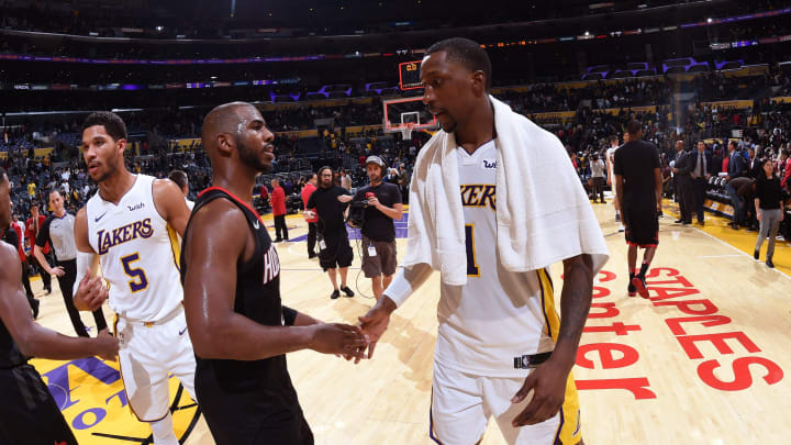 LOS ANGELES, CA – DECEMBER 3: Chris Paul #3 of the Houston Rockets and Kentavious Caldwell-Pope #1 of the Los Angeles Lakers shake hands after the game on December 3, 2017 at STAPLES Center in Los Angeles, California. NOTE TO USER: User expressly acknowledges and agrees that, by downloading and or using this photograph, user is consenting to the terms and conditions of the Getty Images License Agreement. Mandatory Copyright Notice: Copyright 2017 NBAE (Photo by Adam Pantozzi/NBAE via Getty Images)