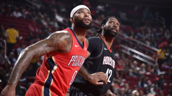 HOUSTON, TX - DECEMBER 11: DeMarcus Cousins #0 of the New Orleans Pelicans plays defense against Nene Hilario #42 of the Houston Rockets on December 11, 2017 at the Toyota Center in Houston, Texas. NOTE TO USER: User expressly acknowledges and agrees that, by downloading and or using this photograph, User is consenting to the terms and conditions of the Getty Images License Agreement. Mandatory Copyright Notice: Copyright 2017 NBAE (Photo by Bill Baptist/NBAE via Getty Images)