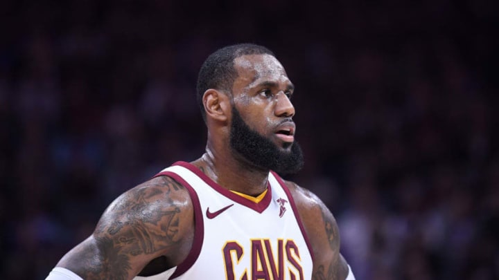 SACRAMENTO, CA - DECEMBER 27: LeBron James #23 of the Cleveland Cavaliers looks on while there's a break in the action against the Sacramento Kings during their NBA basketball game at Golden 1 Center on December 27, 2017 in Sacramento, California. NOTE TO USER: User expressly acknowledges and agrees that, by downloading and or using this photograph, User is consenting to the terms and conditions of the Getty Images License Agreement. (Photo by Thearon W. Henderson/Getty Images)