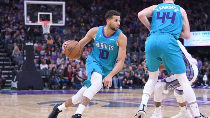 SACRAMENTO, CA - JANUARY 02: Michael Carter-Williams #10 of the Charlotte Hornets drives towards the basket against the Sacramento Kings during an NBA basketball game at Golden 1 Center on January 2, 2018 in Sacramento, California. NOTE TO USER: User expressly acknowledges and agrees that, by downloading and or using this photograph, User is consenting to the terms and conditions of the Getty Images License Agreement. (Photo by Thearon W. Henderson/Getty Images)