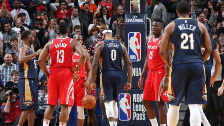 NEW ORLEANS, LA – JANUARY 26: DeMarcus Cousins #0 of the New Orleans Pelicans looks on during the game against the Houston Rockets on January 26, 2018 at Smoothie King Center in New Orleans, Louisiana. NOTE TO USER: User expressly acknowledges and agrees that, by downloading and/or using this photograph, user is consenting to the terms and conditions of the Getty Images License Agreement. Mandatory Copyright Notice: Copyright 2018 NBAE (Photo by Layne Murdoch/NBAE via Getty Images)