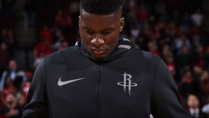 HOUSTON, TX - JANUARY 30: Clint Capela #15 of the Houston Rockets during the national anthem before the game against the Orlando Magic on January 30, 2018 at the Toyota Center in Houston, Texas. NOTE TO USER: User expressly acknowledges and agrees that, by downloading and or using this photograph, User is consenting to the terms and conditions of the Getty Images License Agreement. Mandatory Copyright Notice: Copyright 2018 NBAE (Photo by Bill Baptist/NBAE via Getty Images)