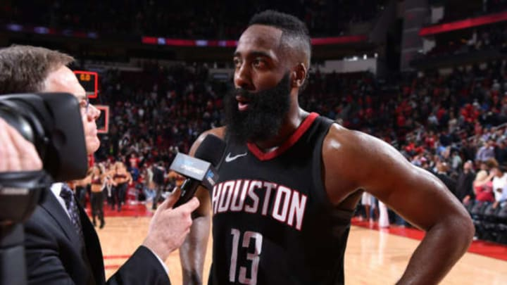 HOUSTON, TX – JANUARY 30: James Harden #13 of the Houston Rockets talks to the media after the game against the Orlando Magic on January 30, 2018 at the Toyota Center in Houston, Texas. James Harden is the first player in Rockets history to score 60 points in a game, and he's the first player in NBA history to produce 60+ points and 10+ assists in the same game. James Harden has also become the first player in NBA history to record a triple-double with at least 60 points scored. NOTE TO USER: User expressly acknowledges and agrees that, by downloading and or using this photograph, User is consenting to the terms and conditions of the Getty Images License Agreement. Mandatory Copyright Notice: Copyright 2018 NBAE (Photo by Bill Baptist/NBAE via Getty Images)