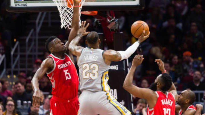 CLEVELAND, OH – FEBRUARY 3: Clint Capela #15 of the Houston Rockets tries to block LeBron James #23 of the Cleveland Cavaliers during the first half at Quicken Loans Arena on February 3, 2018 in Cleveland, Ohio. NOTE TO USER: User expressly acknowledges and agrees that, by downloading and or using this photograph, User is consenting to the terms and conditions of the Getty Images License Agreement. (Photo by Jason Miller/Getty Images)