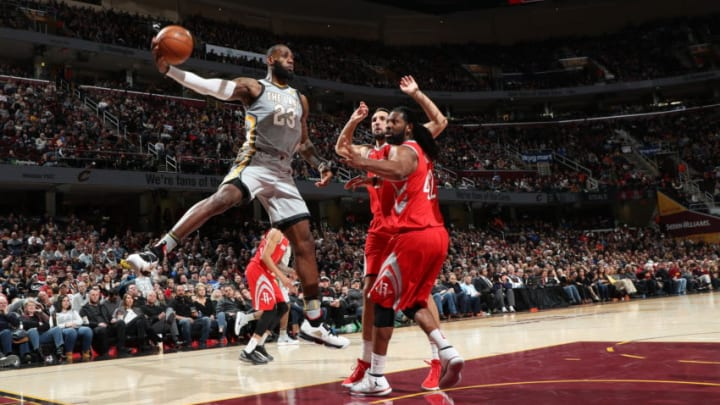 CLEVELAND, OH - FEBRUARY 3: LeBron James #23 of the Cleveland Cavaliers handles the ball against the Houston Rockets on February 3, 2018 at Quicken Loans Arena in Cleveland, Ohio. NOTE TO USER: User expressly acknowledges and agrees that, by downloading and/or using this photograph, user is consenting to the terms and conditions of the Getty Images License Agreement. Mandatory Copyright Notice: Copyright 2018 NBAE (Photo by Joe Murphy/NBAE via Getty Images)