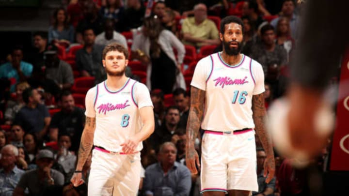 MIAMI, FL – DECEMBER 1: Tyler Johnson #8 of the Miami Heat and James Johnson #16 of the Miami Heat look on during the game against the Houston Rockets on February 7, 2018 at American Airlines Arena in Miami, Florida. NOTE TO USER: User expressly acknowledges and agrees that, by downloading and or using this Photograph, user is consenting to the terms and conditions of the Getty Images License Agreement. Mandatory Copyright Notice: Copyright 2018 NBAE (Photo by Issac Baldizon/NBAE via Getty Images)