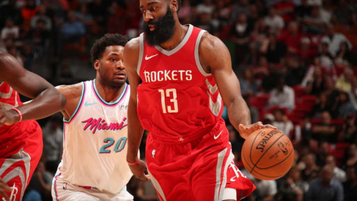 MIAMI, FL - DECEMBER 1: James Harden #13 of the Houston Rockets handles the ball during the game against the Miami Heat on February 7, 2018 at American Airlines Arena in Miami, Florida. NOTE TO USER: User expressly acknowledges and agrees that, by downloading and or using this Photograph, user is consenting to the terms and conditions of the Getty Images License Agreement. Mandatory Copyright Notice: Copyright 2018 NBAE (Photo by Issac Baldizon/NBAE via Getty Images)