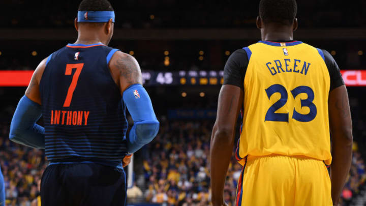 OAKLAND, CA - FEBRUARY 24: The jerseys of Carmelo Anthony #7 of the Oklahoma City Thunder and Draymond Green #23 of the Golden State Warriors as seen during the game on February 24, 2018 at ORACLE Arena in Oakland, California. NOTE TO USER: User expressly acknowledges and agrees that, by downloading and or using this photograph, user is consenting to the terms and conditions of Getty Images License Agreement. Mandatory Copyright Notice: Copyright 2018 NBAE (Photo by Garrett Ellwood/NBAE via Getty Images)