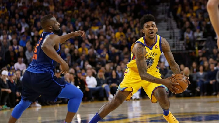 Nick Young #6 of the Golden State Warriors Raymond Felton #2 of the Oklahoma City Thunder (Photo by Lachlan Cunningham/Getty Images)